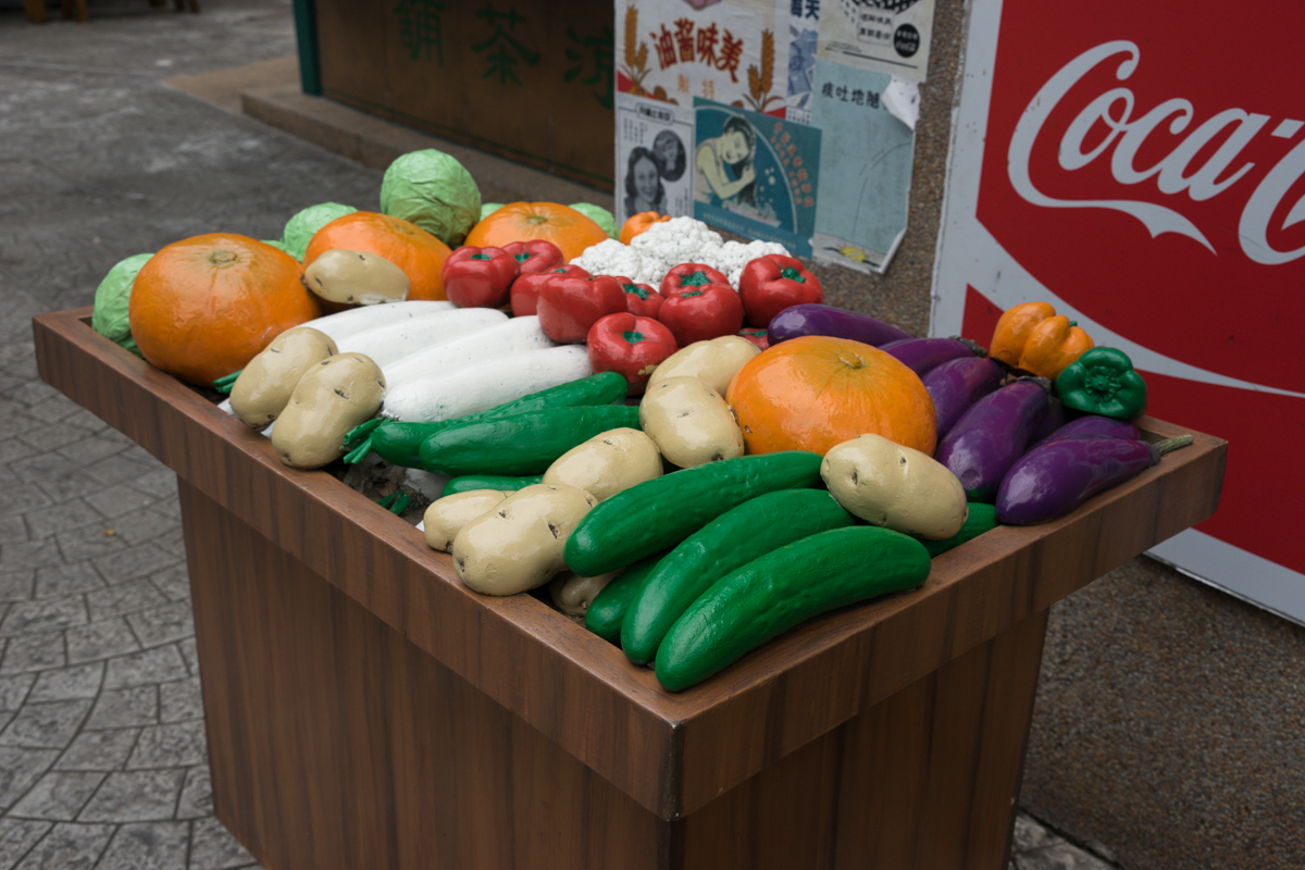 Colourful plastic vegetables