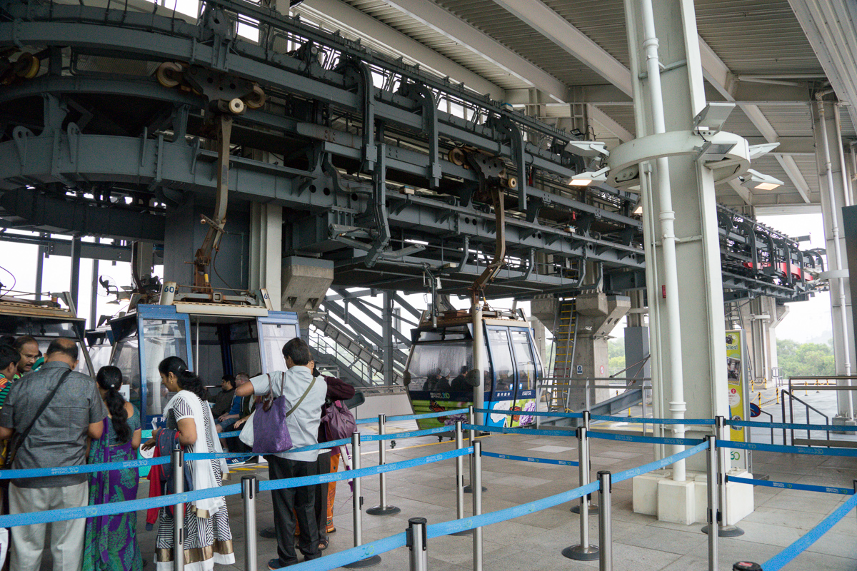 A photograph of the Ngong Ping cable car terminal at Tung Chung station