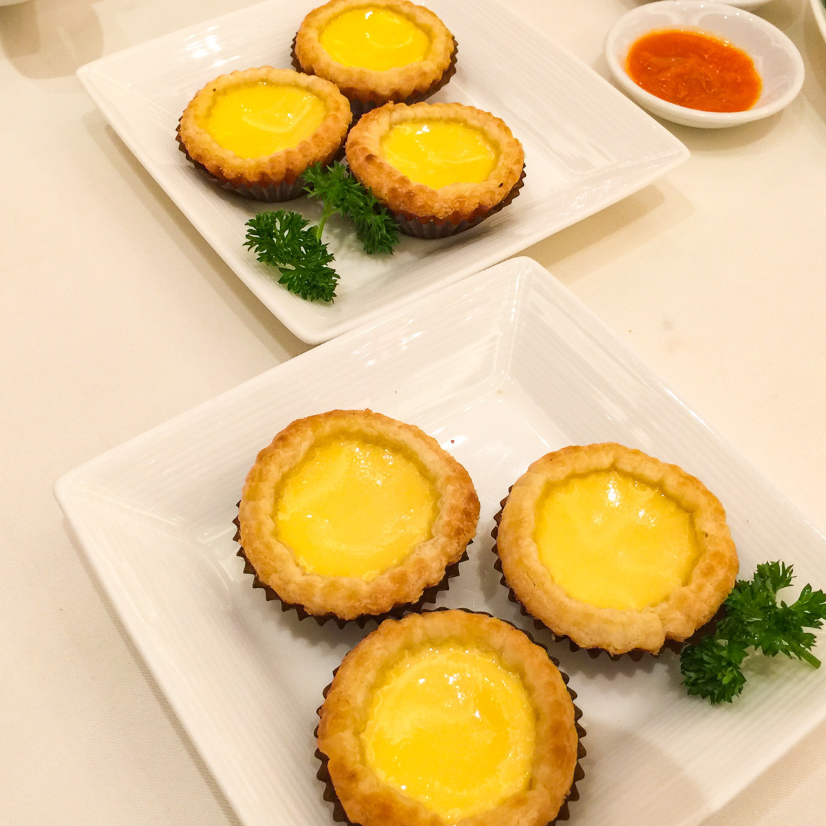 A photograph of Egg custard tarts