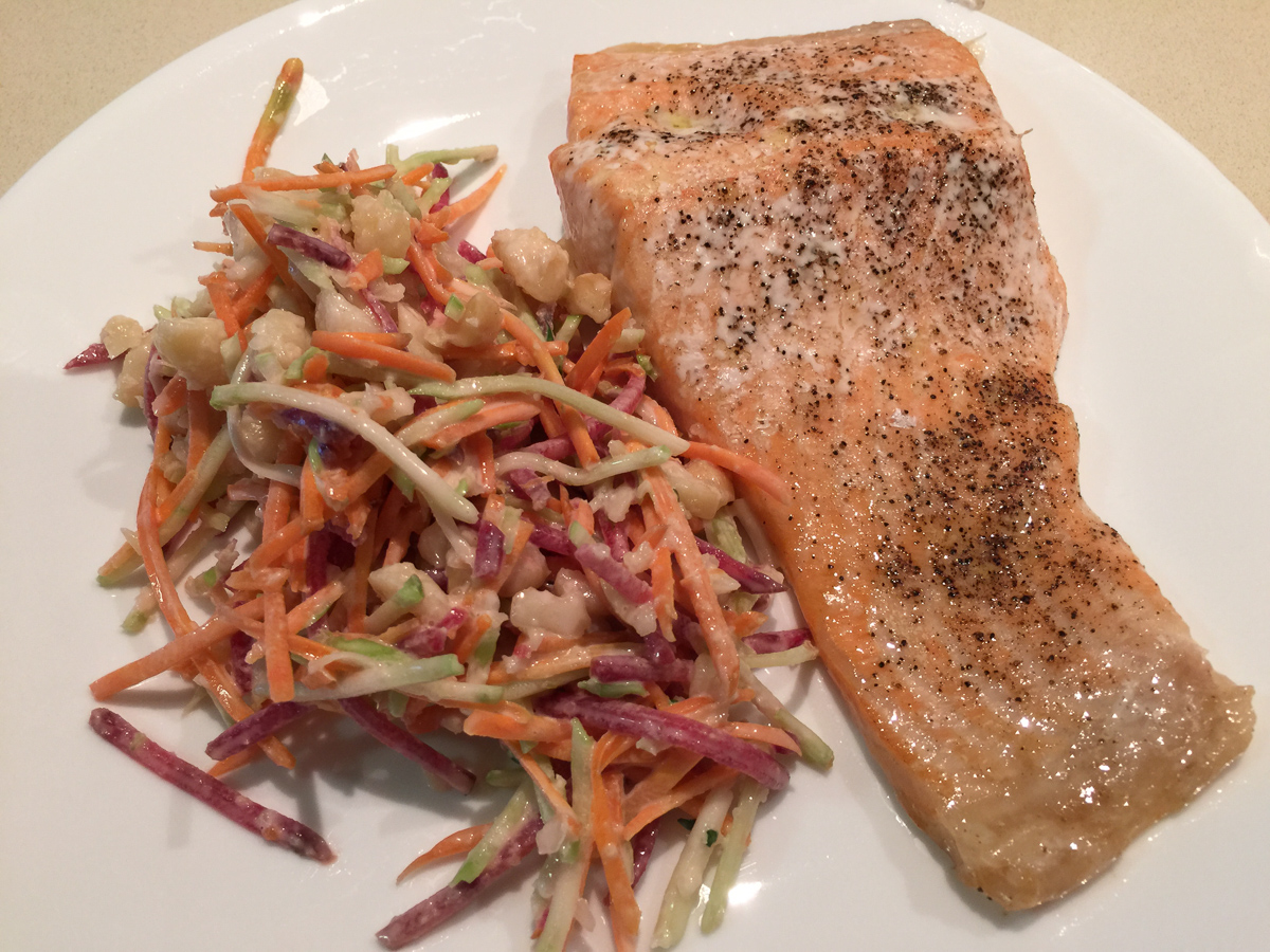 Salmon and coleslaw