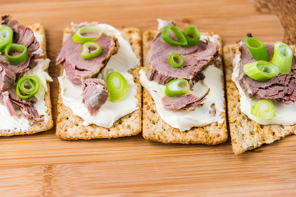 A photograph of Roast lamb and cream cheese on Vita-Weat