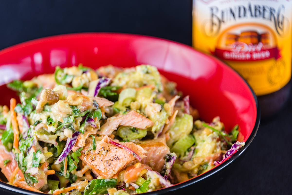Photograph of Mammal-free Monday Salmon salad with crunchy nuts and a Bundaberg ginger beer for Monday link love