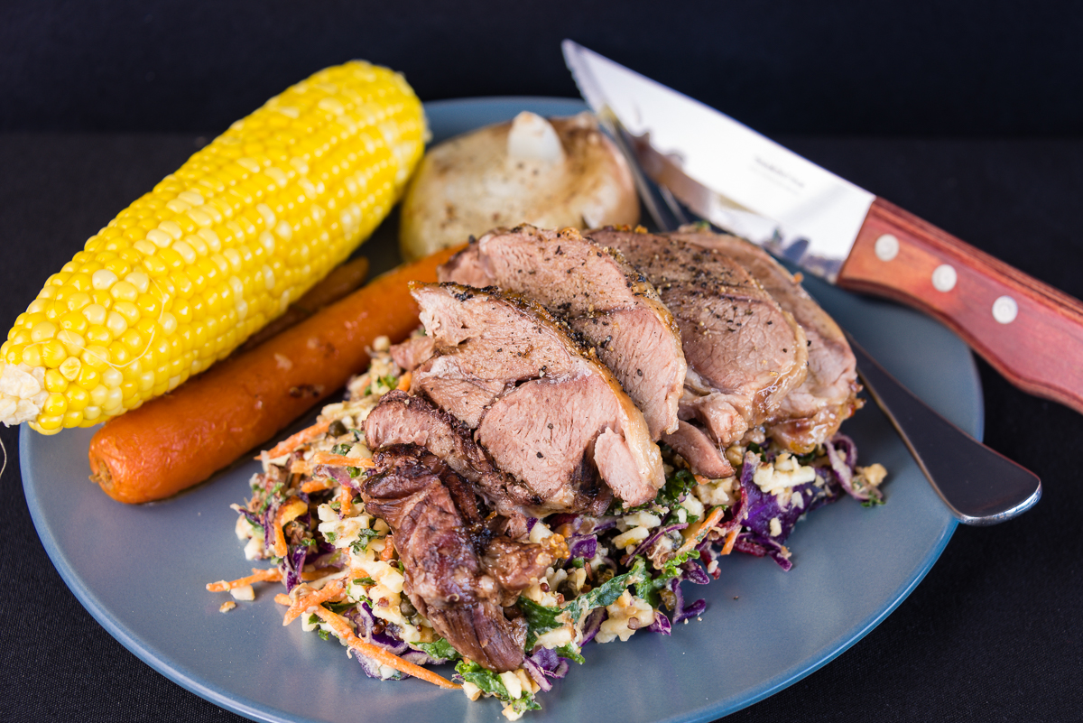 Australia Day roast lamb. Beef stock, Carrot, Coleslaw, Corn, Green peppercorns, Kale, Nuts, Onion, and Quinoa.