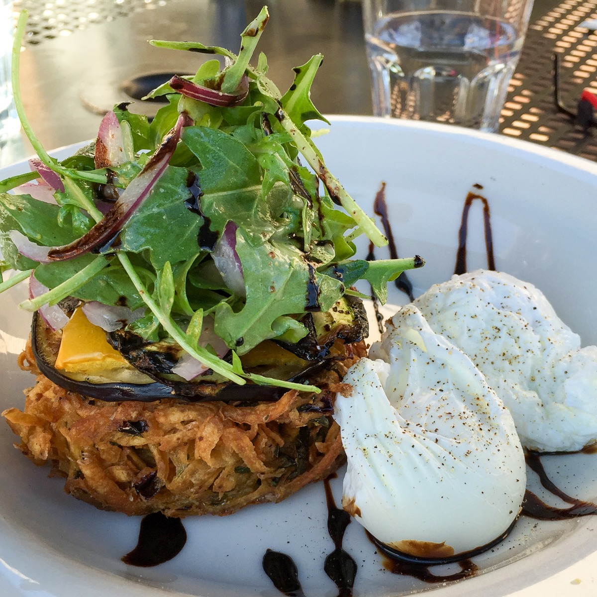 Vegetable stack with poached eggs from Rocksalt Restaurant, Hawker Shops
