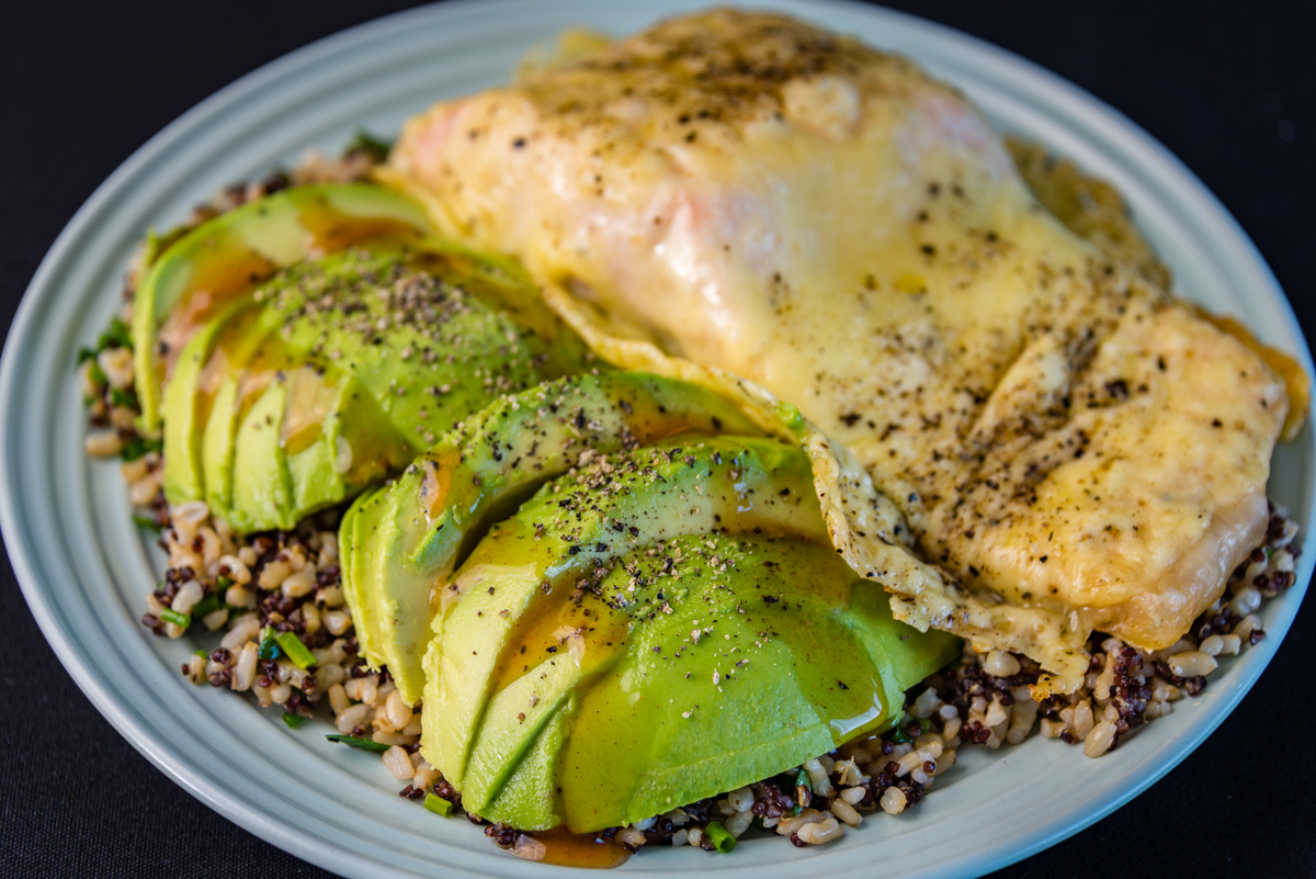 Gary Lum Cheesy salmon with quinoa rice and avocado