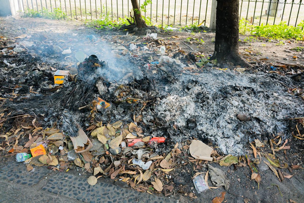 Gary Lum and burning rubbish Manila