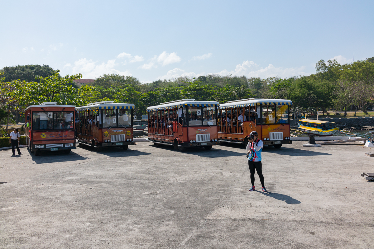 Tour buses on Corregisor Island