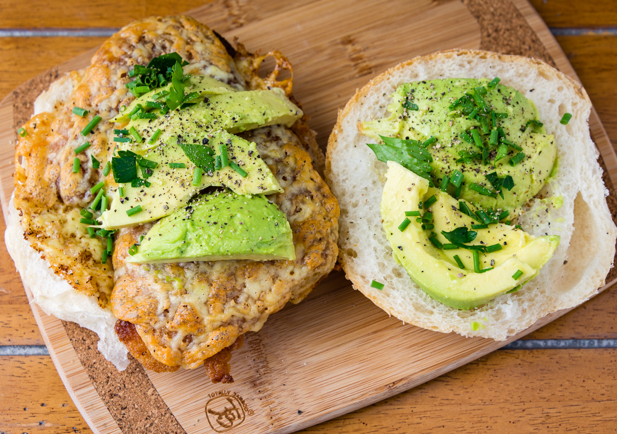 Gary Lum Grilled cheese chicken thigh schnitzel cheeseburger with avocado