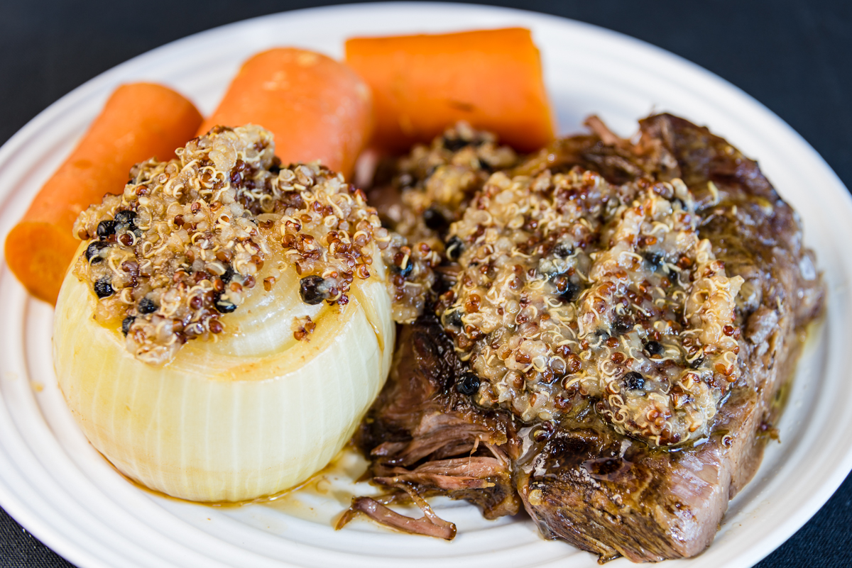 Gary Lum Slowly roasted blade beef with quinoa, carrot and onion