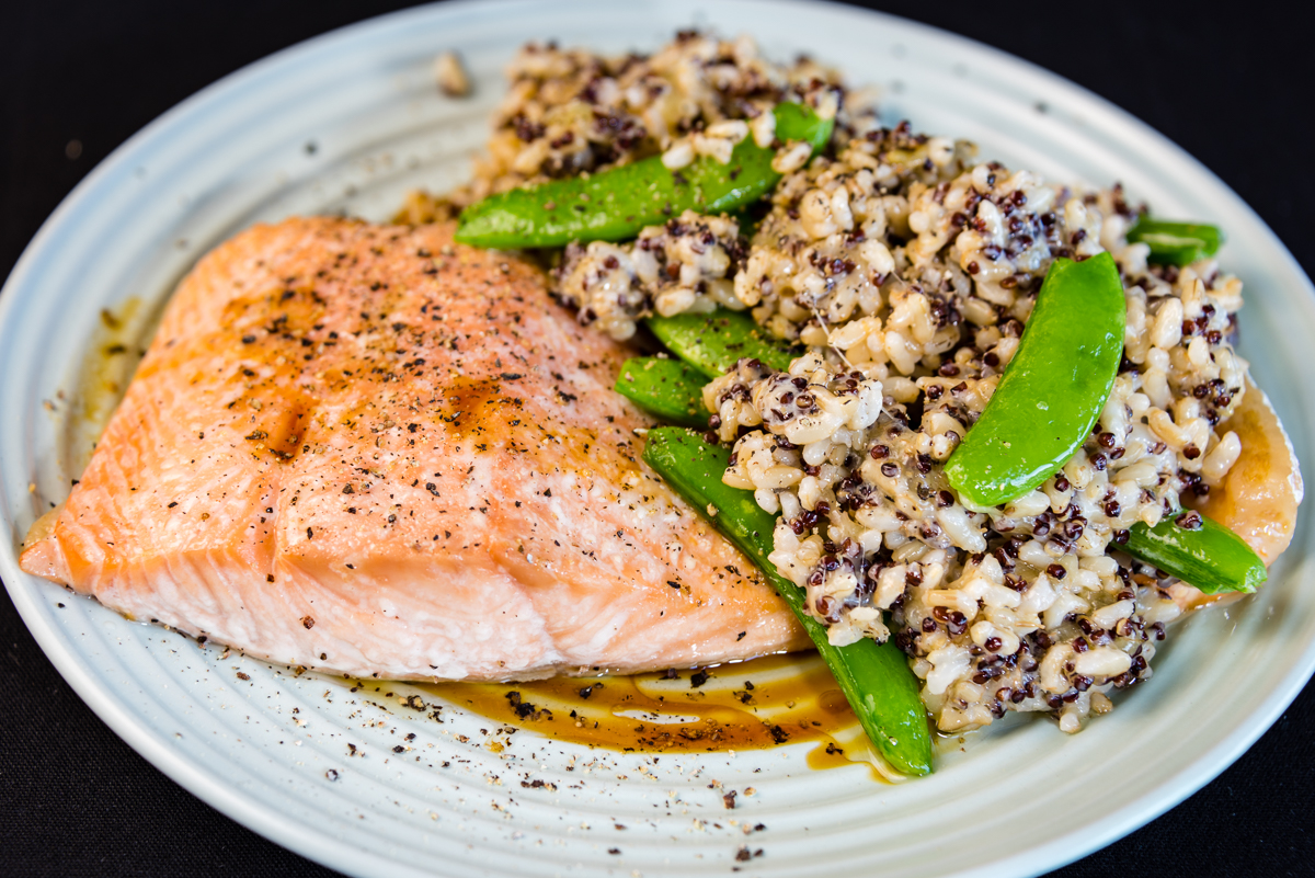 Gary Lum Baked honey soy skinless salmon with quinoa rice and sugar snap peas