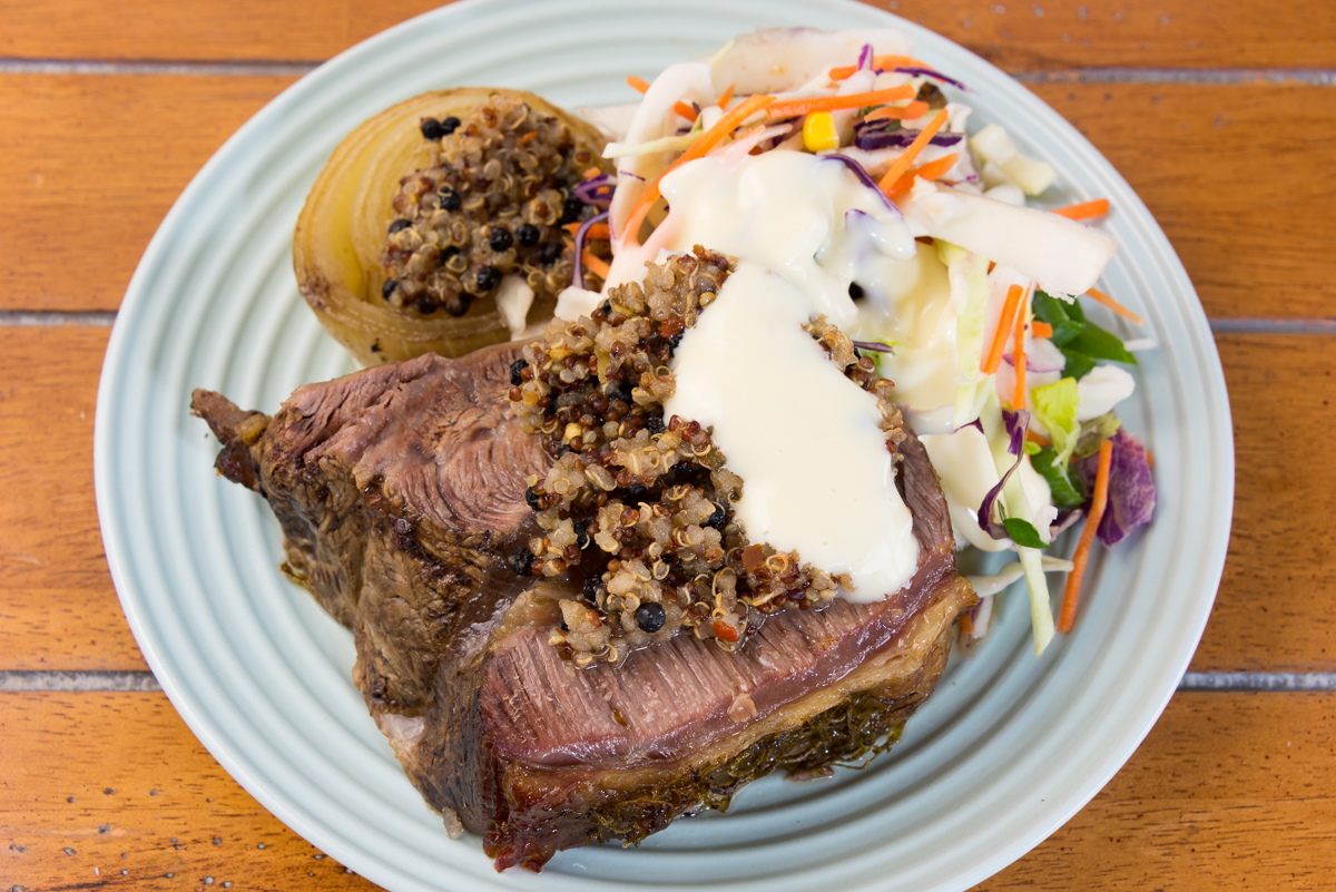 Slowly roasted blade beef with quinoa coleslaw and onion
