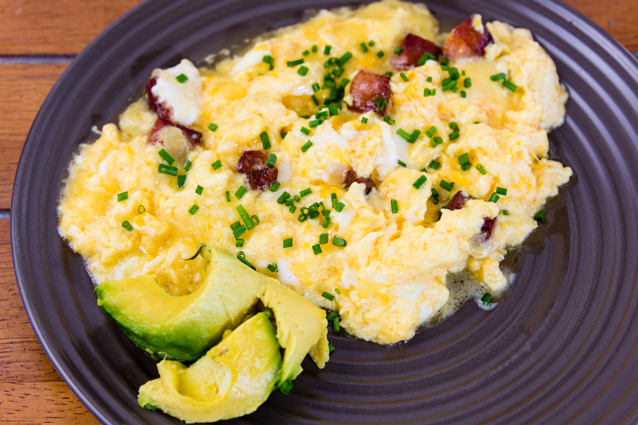 Gary Lum Scrambled eggs with speck and avocado