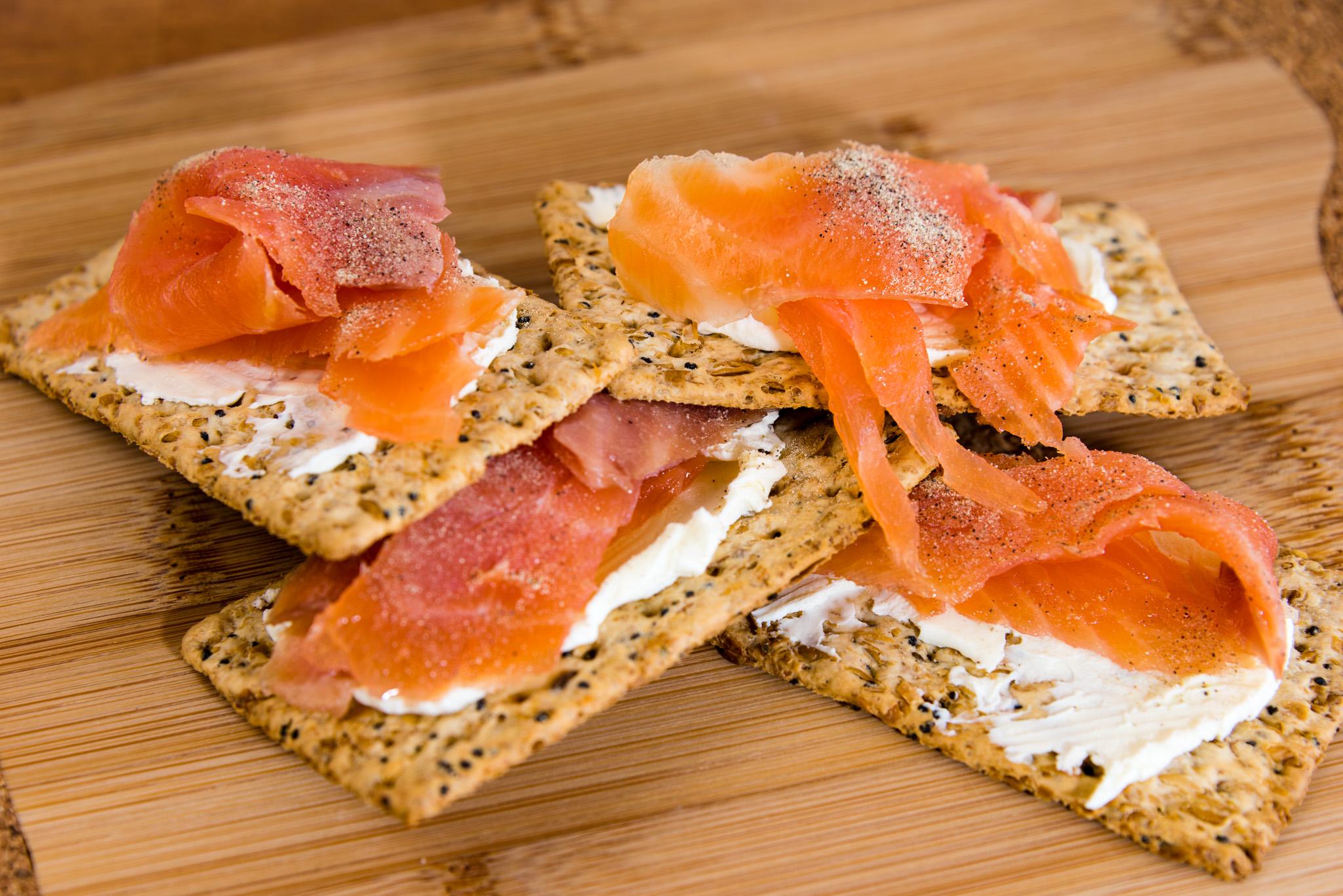 Gary Lum Smoked salmon with cream cheese on Vita-Weat
