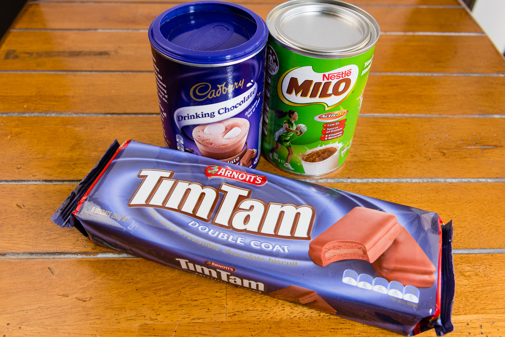 Gary Lum Double coat TimTams with Milo and drinking chocolate