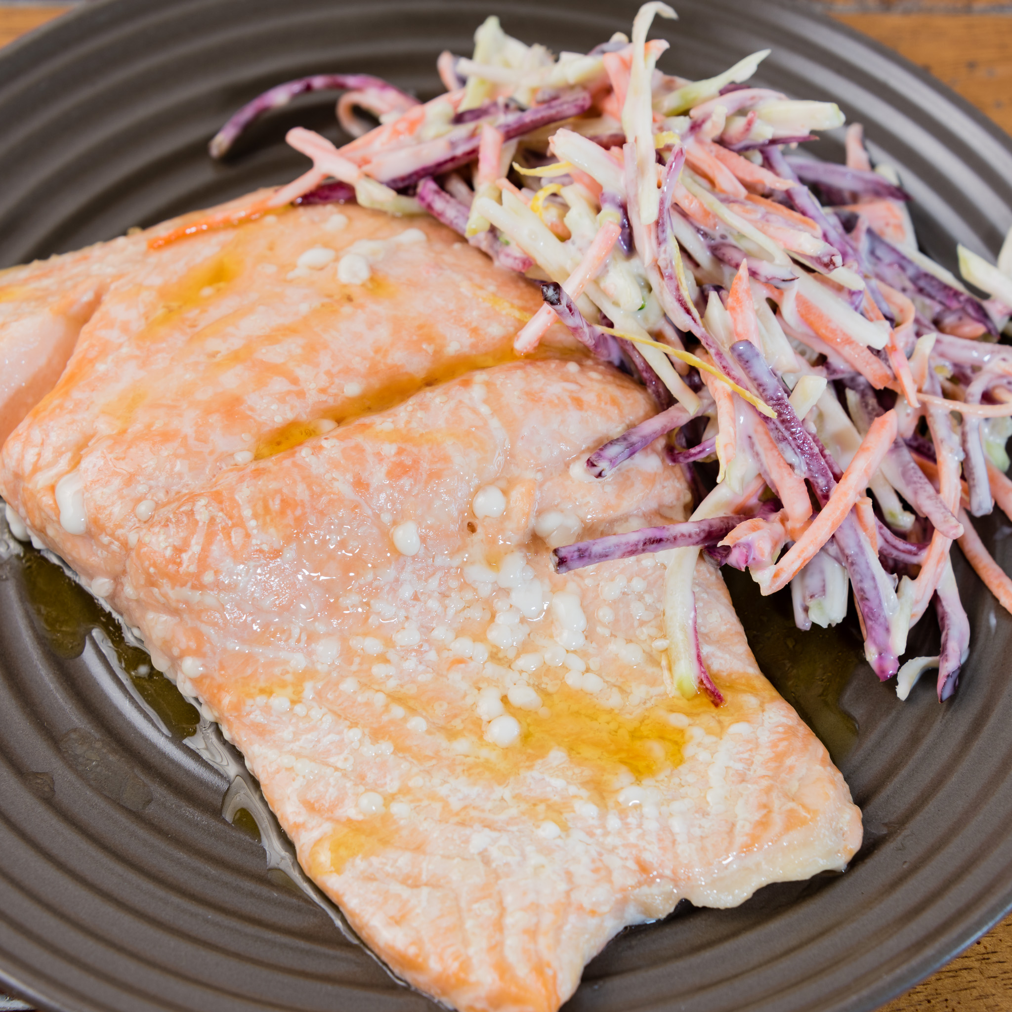 Baked salmon and coleslaw for dinner while watching My Kitchen Rules