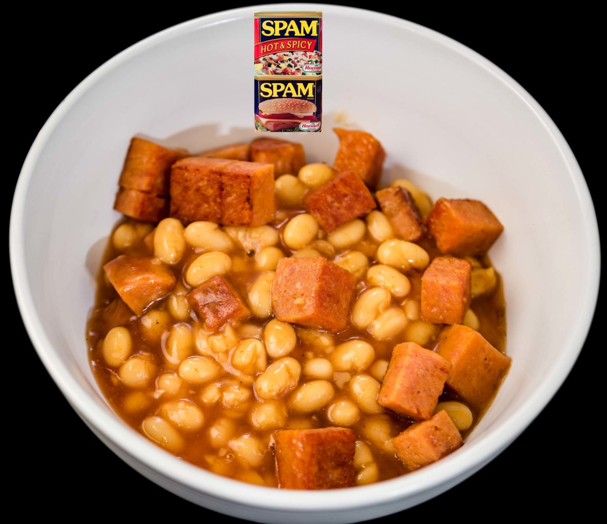 Baked beans, Worcestershire sauce, and hot and spicy spam