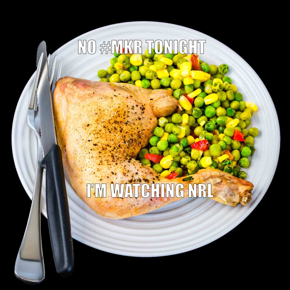 Baked Chicken Maryland with peas, corn and capsicum