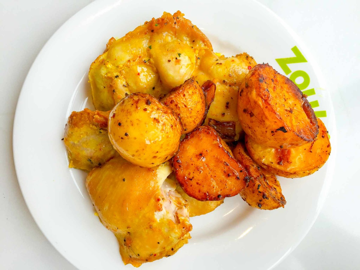Roast skinless chicken and potato