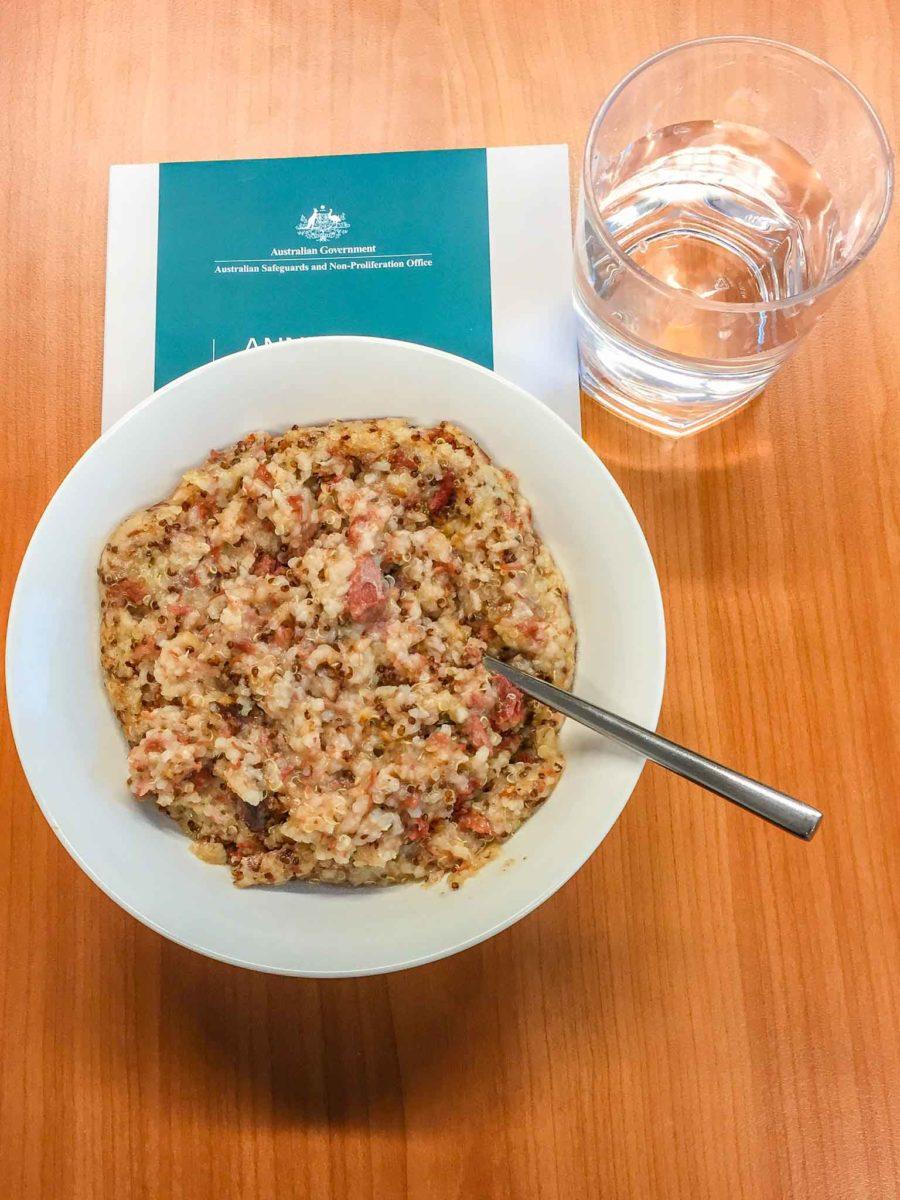 Corned beef quinoa congee