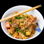 Slow cooker pork and potato quinoa congee with potatoes