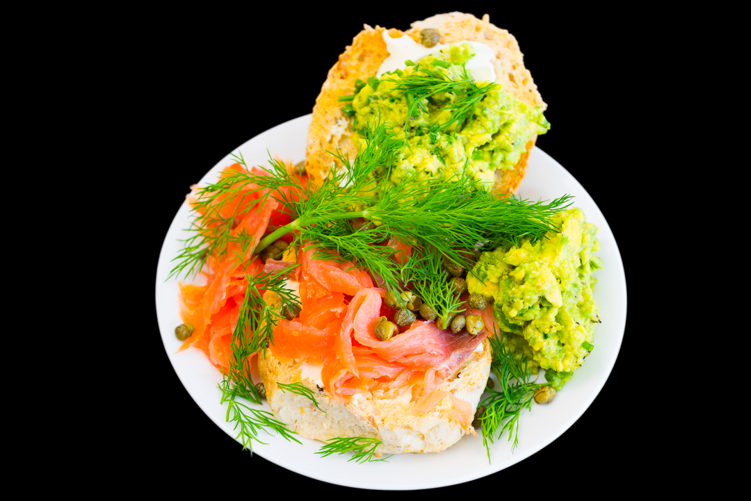 Smoked salmon with dill, capers, cream cheese, chives and avocado