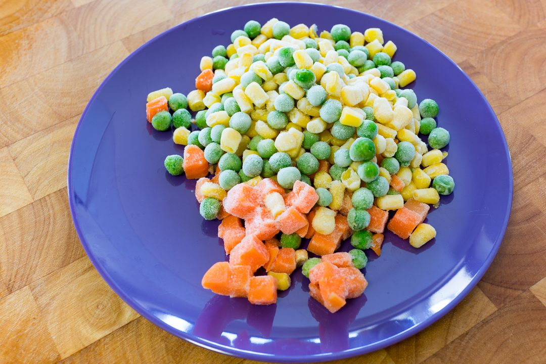 Frozen peas, corn and carrot