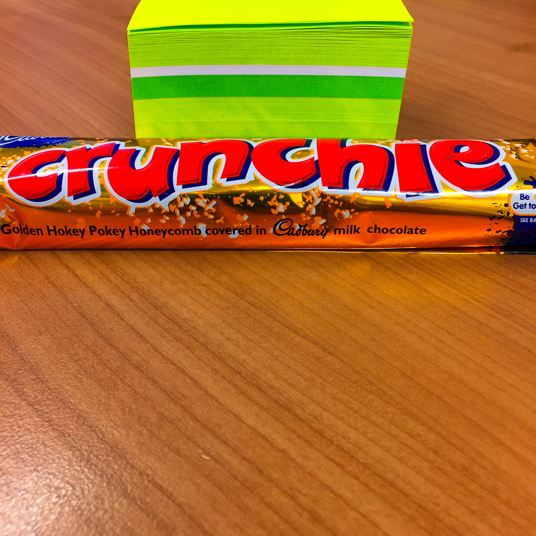 Crunchie bar with note paper