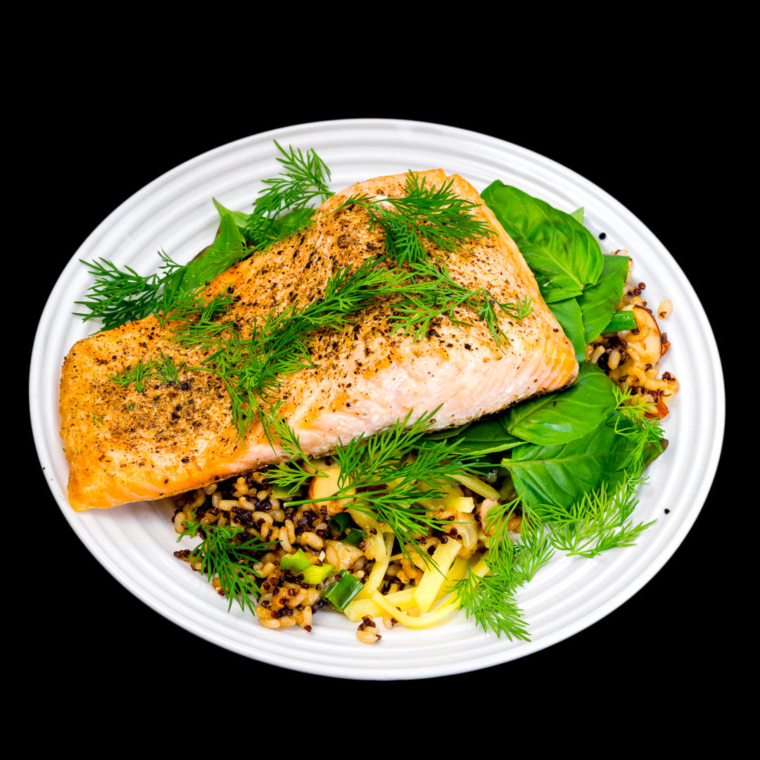 Baked salmon with fried quinoa rice