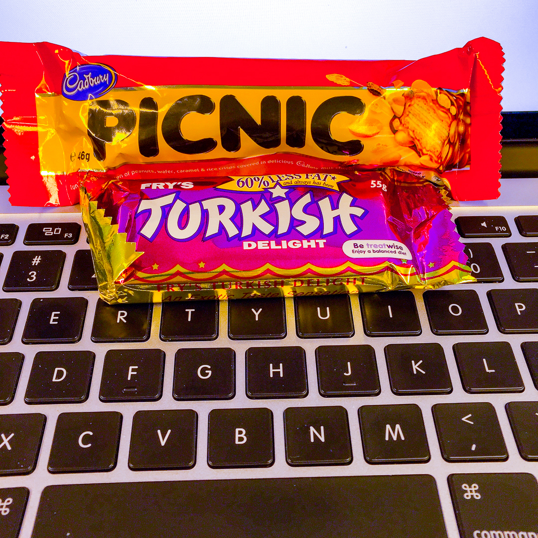 Turkish delight and picnic chocolate on my keyboard