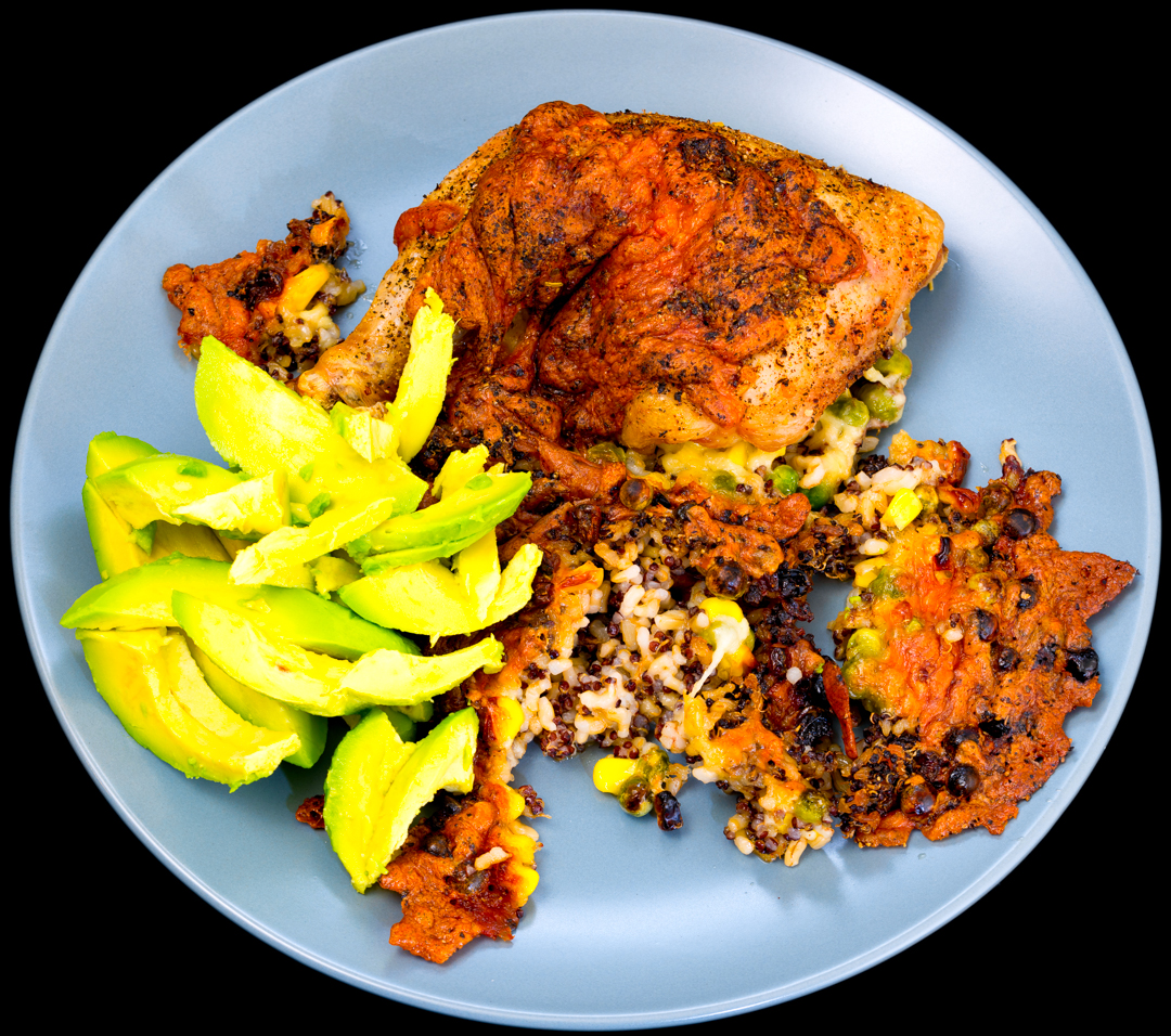 Baked cheesy Chicken Maryland with quinoa rice onions and avocado