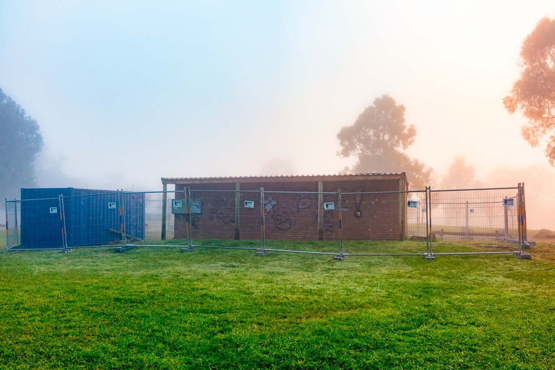 Toilets in the mist near Lake Ginninderra