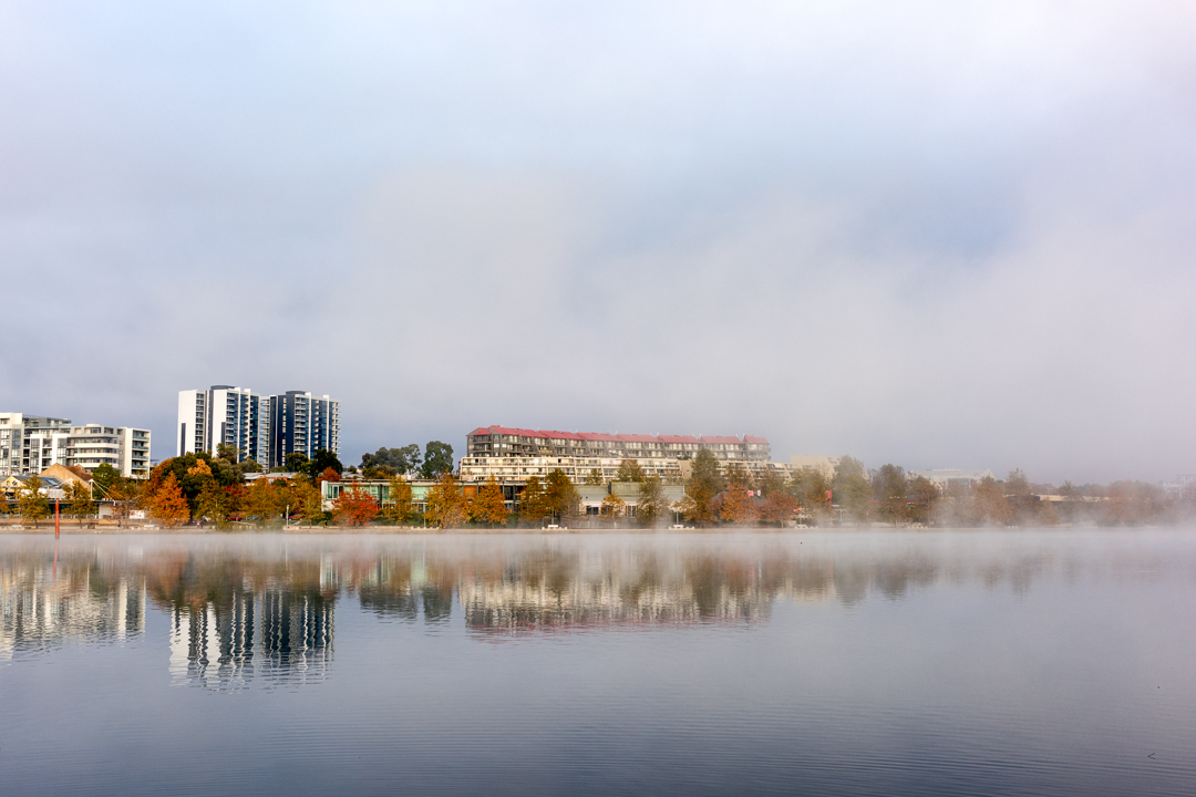 Lake Ginninderra early Saturday morning with the misty fog