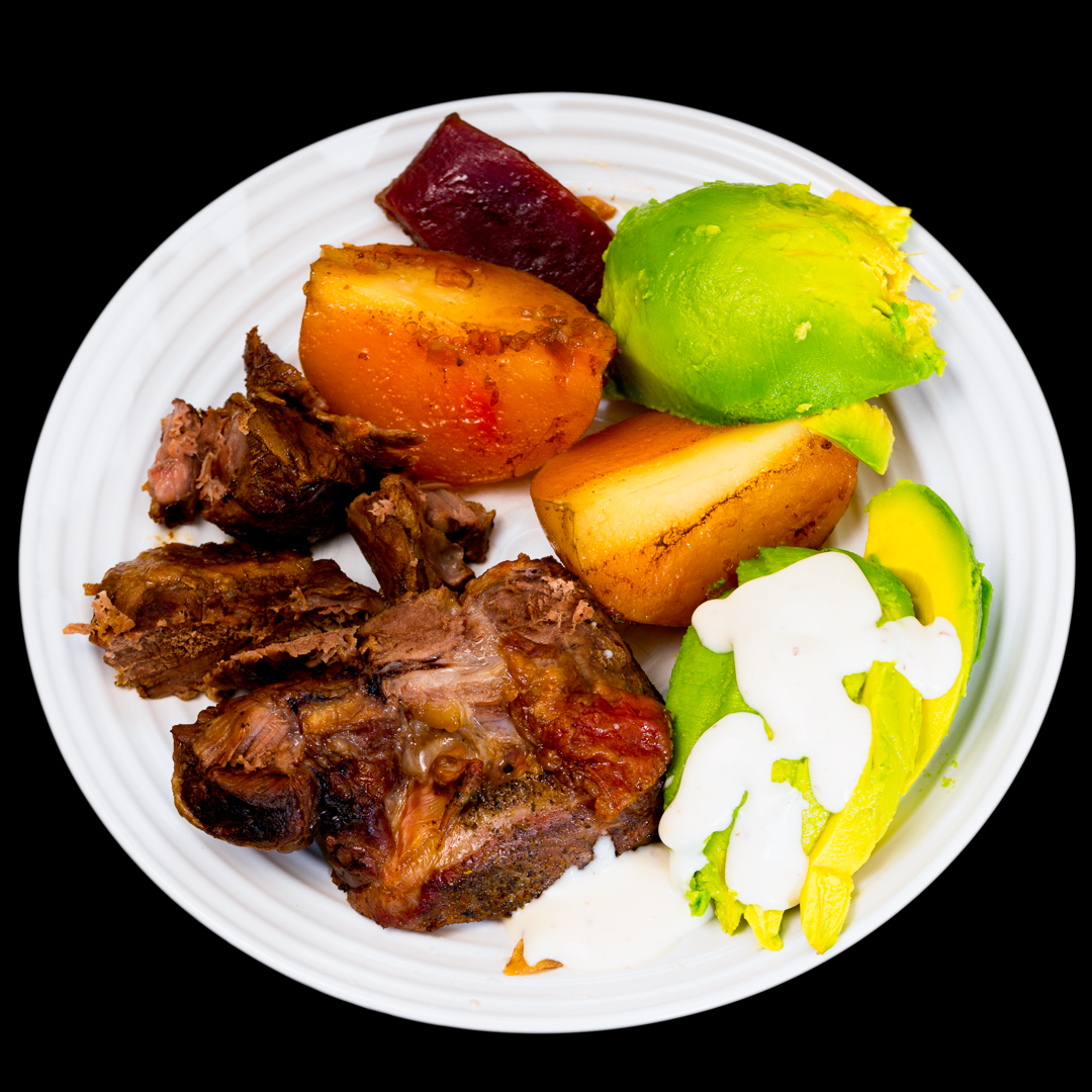 Slowly roasted butterflied leg of lamb with potato, beetroot and avocado