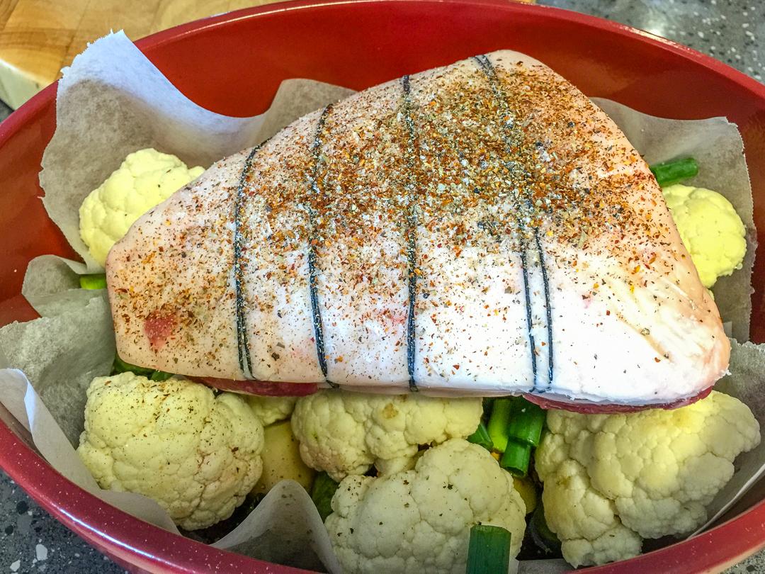 Cauliflower, Onion, Potato, Spring onion, Beef in a casserole