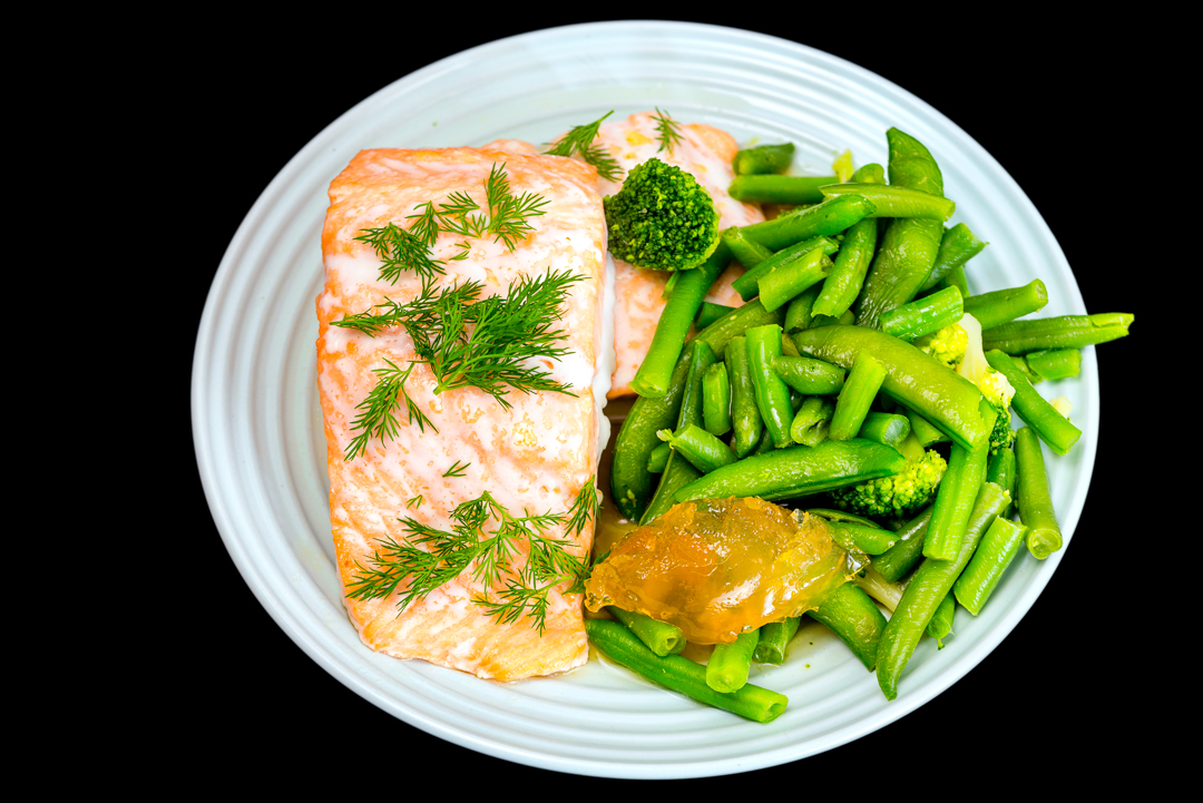 Baked salmon with broccoli, beans, sugar snap peas and ginger marmalade