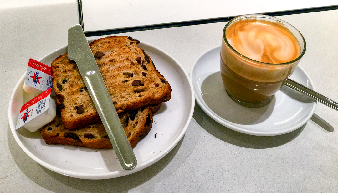 Raisin toast and coffee