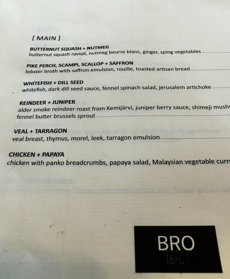 BRO restaurant menu