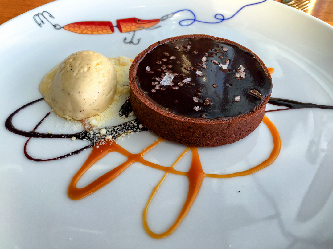Chocolate ganache with rick salt and caramel plus vanilla ice cream at Meripaviljonki Ravintola Restaurant