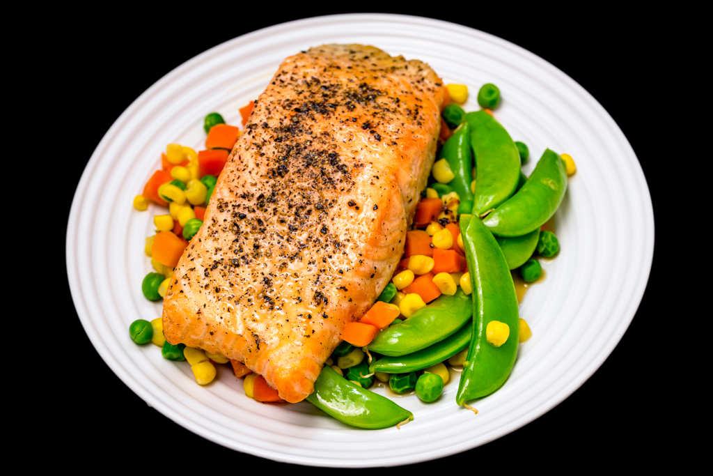 Monday dinner. Baked maple syrup salmon with vegetables