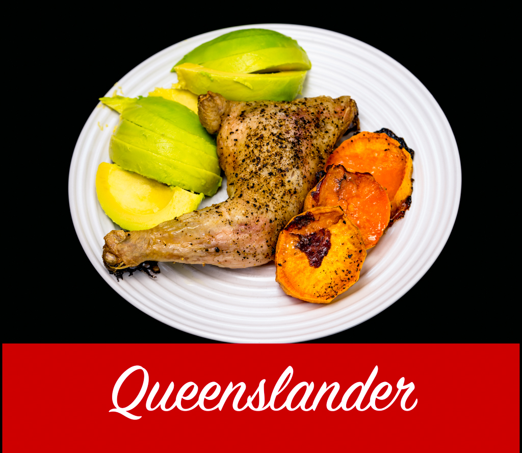 Thursday dinner. Still happy. Chicken Maryland with sweet potato and avocado