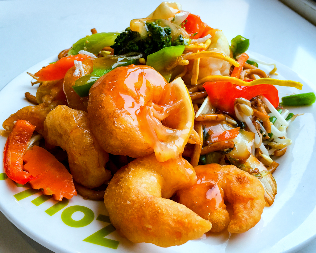 Sweet and sour prawns with noodles