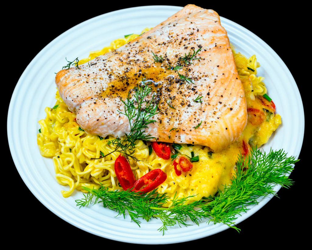 Baked salmon with cheesy crispy chilli noodles
