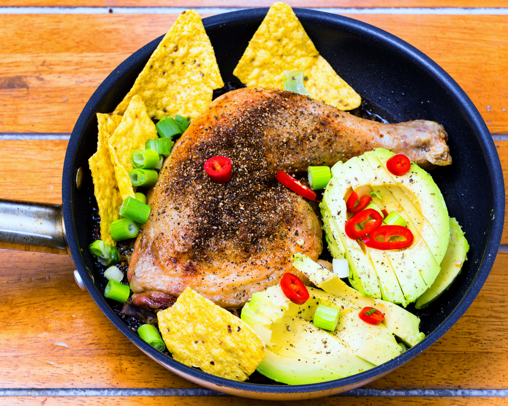 One 'pot' chicken Maryland with crunchy quinoa rice, avocado, spring onion and chilli