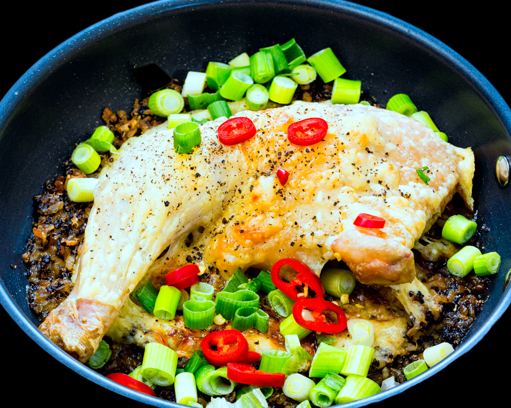 Cheesy Chicken Maryland with crunchy quinoa rice spring onions and chilli