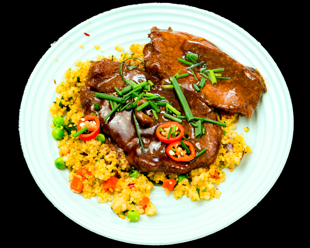 Slow cooker oyster blade steak with pearl barley couscous