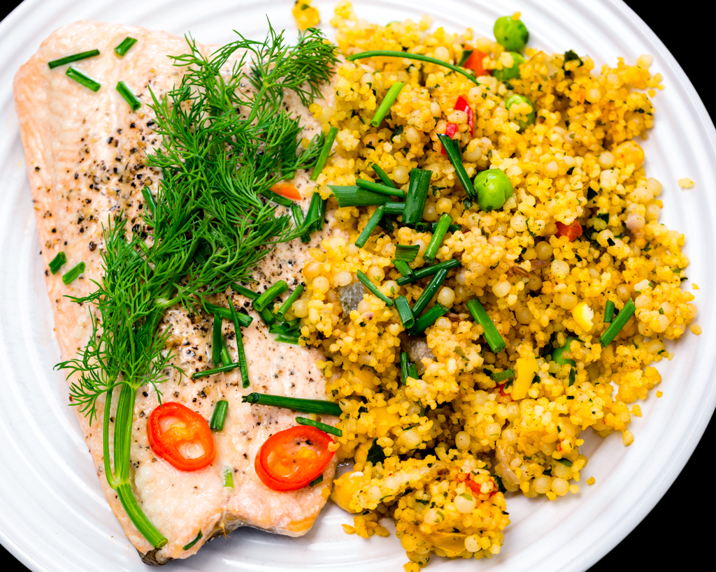 Pan fried salmon with pearl barley couscous and chickpeas