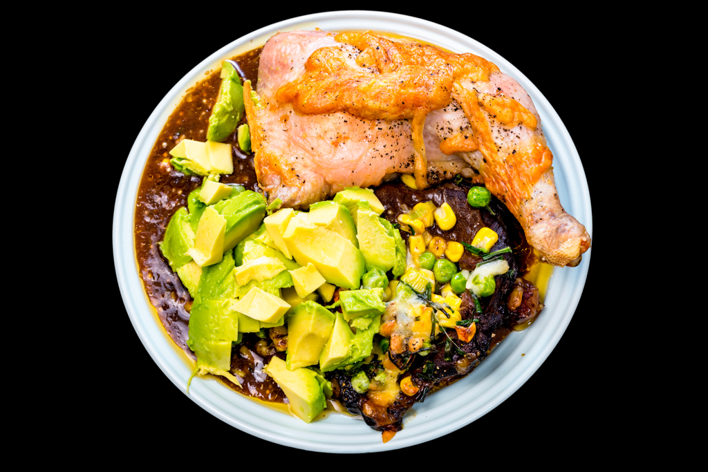Slow cooker oyster blade steak with Chicken Maryland served with avocado