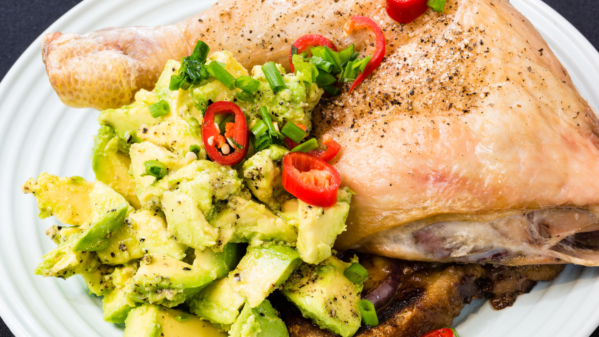 Vegemite Chicken Maryland with cheesy onion and avocado