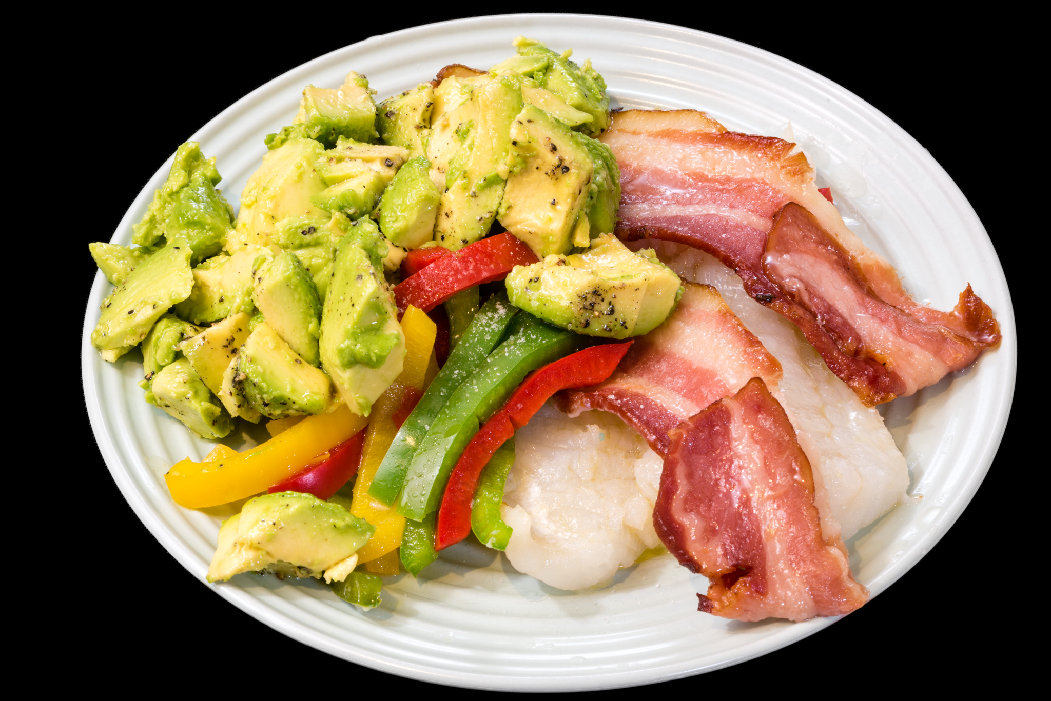Baked pink ling with bacon, capsicum and avocado