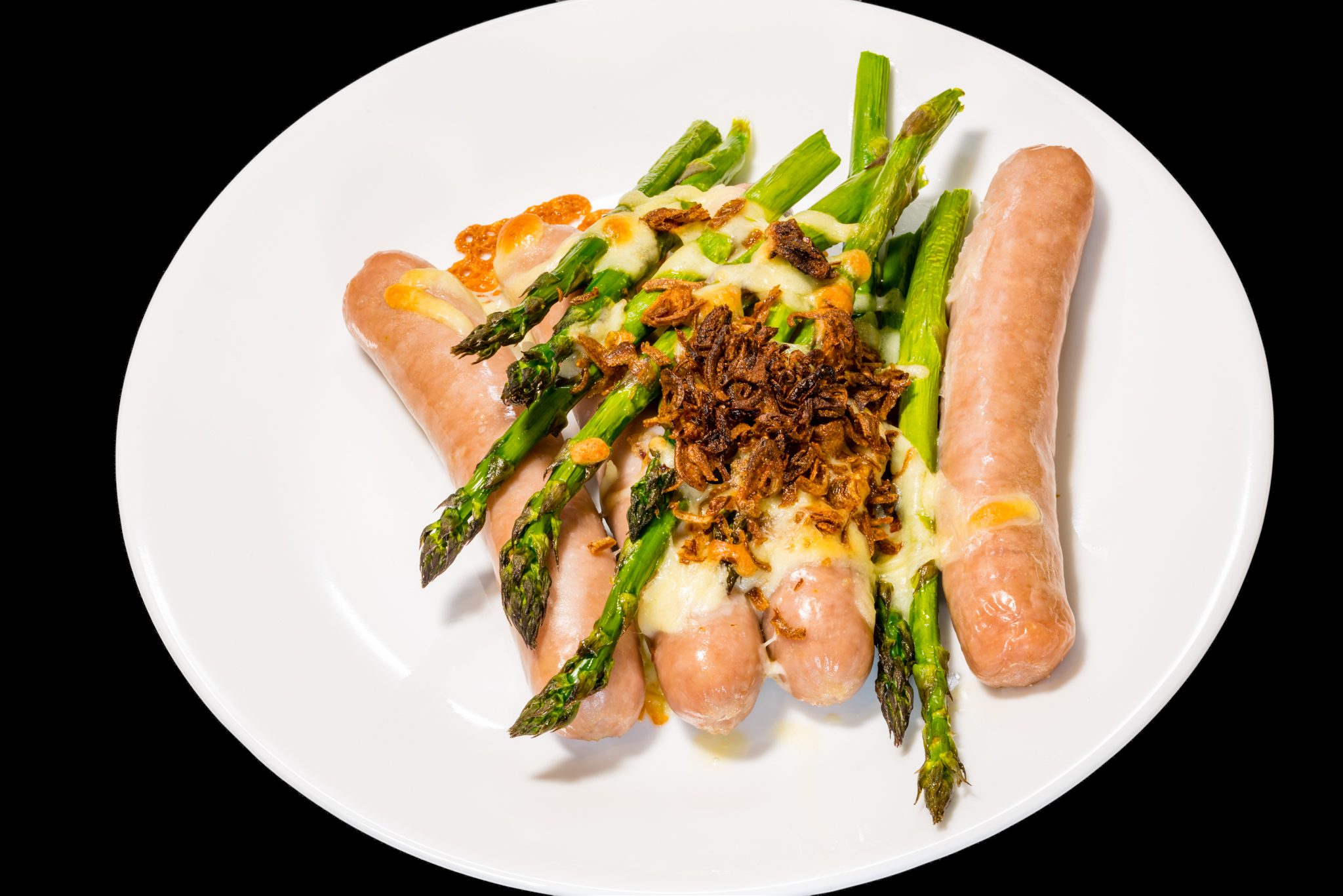 Pork sausages with asparagus and cheesy fried shallots Australian Asparagus Gary Lum